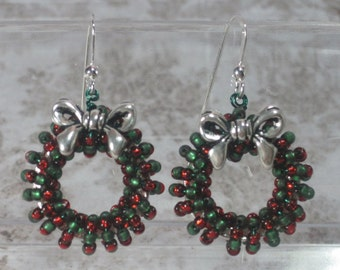 Holiday Christmas Wreath Earrings Beaded, Green and Red, Silver or Gold, Tree Ornament, Doll House