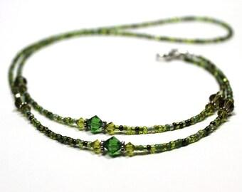 Beaded Lanyard Green Clover, ID or Key Badge Holder, Eyeglass or Sunglass Leash, Spectacle Chain, Breakaway, St. Patricks Day