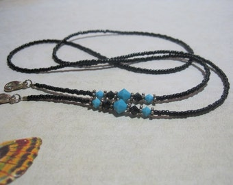 Beaded Lanyard, Turquoise and Black, ID Badge or Key Holder, Eyeglass or Sunglass Chain, Silver or Gold, Breakaway