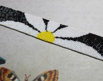 Daisy Peyote Stitched Bracelet, Bangle, Black, White and Yellow, Beadwork