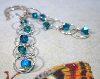 Crystal Blue and Sterling Silver Dangle Bubble Earrings, Blue Zircon AB2x Premium Crystals