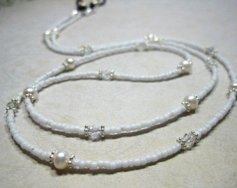 White Pearl and Crystal Lanyard, Mask Holder, ID Holder, Eyeglass Holder, Spectacle Chain, Freshwater Pearl, Breakaway, Necklace