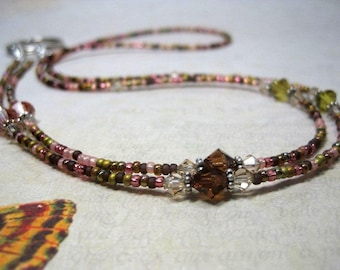 Fall Colors Beaded Lanyard, ID Badge, Eyeglass Leash, Mask Holder, Spectacle Chain, Pink, Green, Bronze, Breakaway