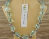 18-1 4 quot Necklace of Large Blue Quartz Nuggets, Sterling Silver beads and spacers, and 4mm Apatite Rondells