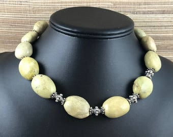 Yellow Turquoise, Bali Sterling Silver Necklace