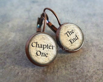 Book Lover Earrings  12mm Chapter One The End Antique Copper Dangle Earrings - Reader Literary Earrings - Librarian Gift Teacher Writer Gift