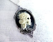 Day of the Dead Girl Cameo Necklace - Skeleton Lady Cameo Victorian Gothic Skull Cameo - Dia De Los Muertos Lolita Jewelry