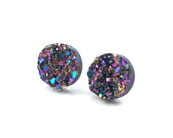 Aqua Druzy Studs Stud Stainless Steel Stud Earrings 8mm Gifts for women Hypoallergenic Mint Faux Druzy Druzy Earrings Aqua