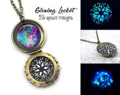 Glow in the Dark Galaxy Necklace - 23 Images Glowing Space Locket Silver, Rose Gold, Gold, Gunmetal - Nebula Stars Solar System Glow Jewelry