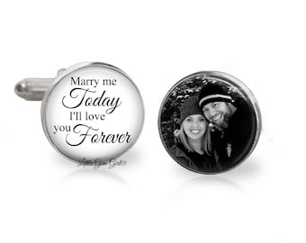 Stainless or Sterling Silver Marry me Today I/'ll love you Forever Groom Cuff Links Custom Photo Wedding Engagement Groom Gift