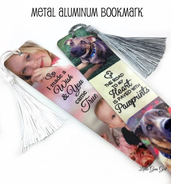 Book Lovers Add 2 Photos Personalised Metal Bookmark with Photos and Text