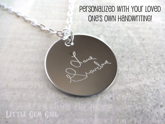 Custom Engraved Handwriting Necklace - Personalized Signature Charm - Stainless Steel Round Disc  - Memorial Writing Jewelry