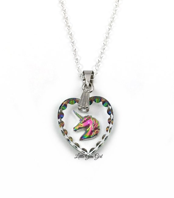 Unicorn Necklace Etched Glass with Unicorn Sterling Silver Chain Option Rainbow Unicorn Pendant 15x14mm Engraved Unicorn Heart Charm