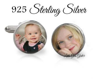925 STERLING SILVER Custom Photo Cuff Links - Picture Cufflinks - Father of the Bride - Groom and Dad Wedding Gift