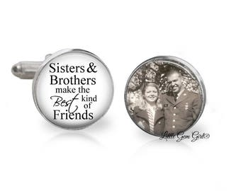 Brother of the Bride Cuff Links - Custom Photo and Text Sisters and Brothers make the best kind of Friends Cufflinks - Silver Cuff Links