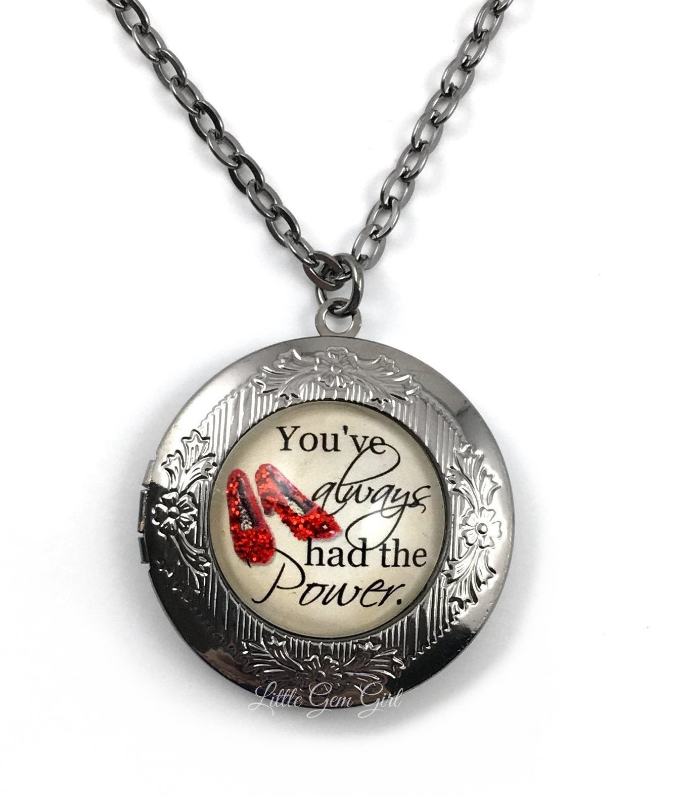 2c9ef439a7 Wizard of Oz Locket You've Always had the Power Necklace - Ruby Slipper  Locket - Motivational Quote Jewelry - Oz Photo Locket