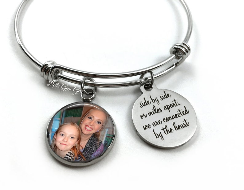 Long Distance Going Away Gift Custom Photo Best Friend Jewelry Personalized Mother Daughter Stainless Steel Silver Charm Bracelet