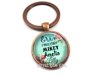 Personalized Grandma Grandpa Name Key Chain - Grandkids Names Jewelry - Custom Name Charm - 5 Colors & 14 Designs - Kid's Names Gift
