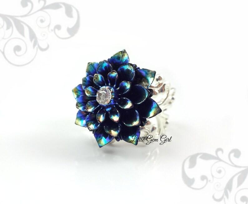 Blue Rainbow Dahlia Ring Turquoise Lotus Flower Ring Etsy