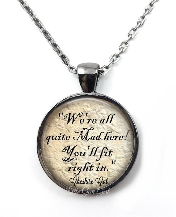 """Bronze Alice in Wonderland /""""We/'re All Mad Here/"""" Glass Necklace New in Gift Bag"""