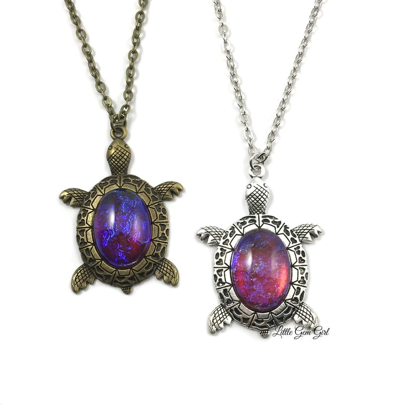 Vintage jewelry Cabochon Glass silver Necklace pendants:turtle colorful animal
