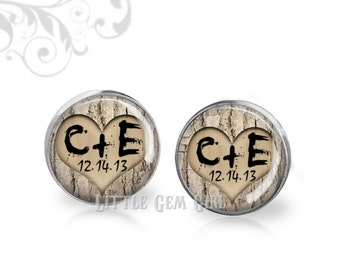 Groom Cuff Links with Custom Initials and Wedding Date Carved in Tree Cufflinks - Woodland Wedding Keepsake - Sterling Sivler and Stainless