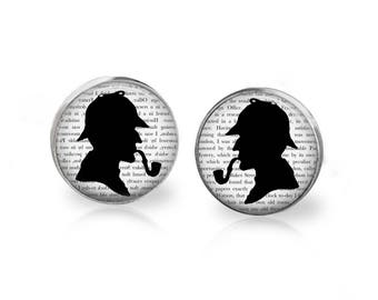 Sherlock Holmes Cufflinks - Book Quote Cuff Links - Sherlock Holmes Silhouette Baker Street Book Jewelry - Vintage Style Book Quote