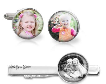 Custom Photo Cuff Links and Tie Bar - Personalized Picture Tie Clip Cufflinks Set - Father's Day Photo Gift - Groom Memorial Wedding Jewelry