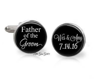 Custom Father of the Groom Cuff Links - Wedding Date and Name  Cufflinks - Personalized Gift for Dad - Sterling Silver and Stainless