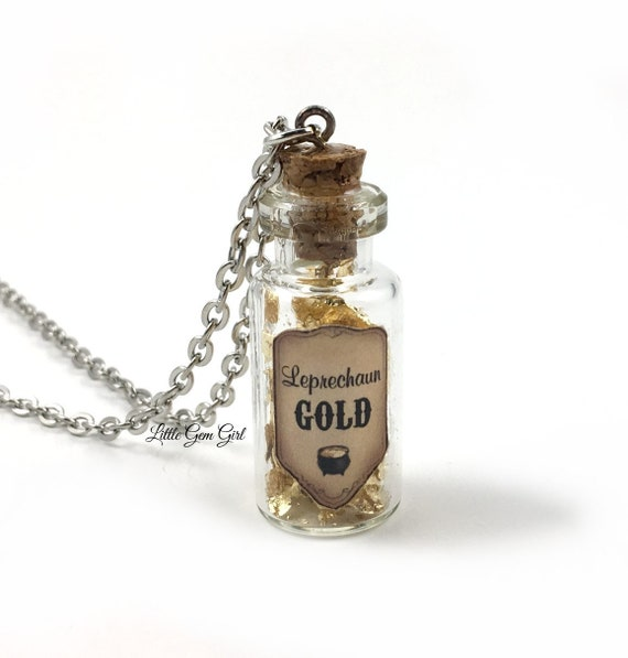 Leprechaun Gold St Patrick/'s Day Mini Glass Vial Bottle Charm Necklace Lucky