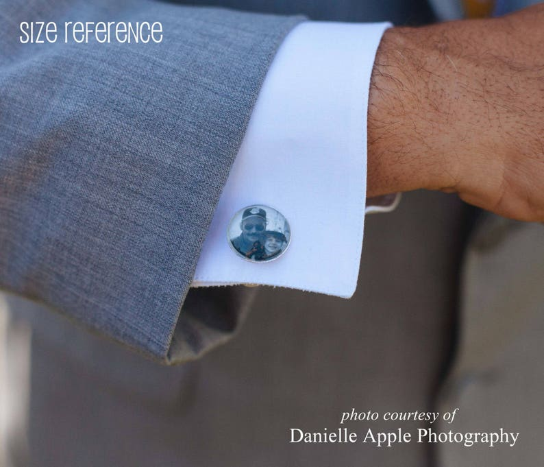 Custom Photo Tie Clip Wedding Cuff Links Father of the Groom Cuff Links and Tie Bar Set Personalized Picture Tie Clip