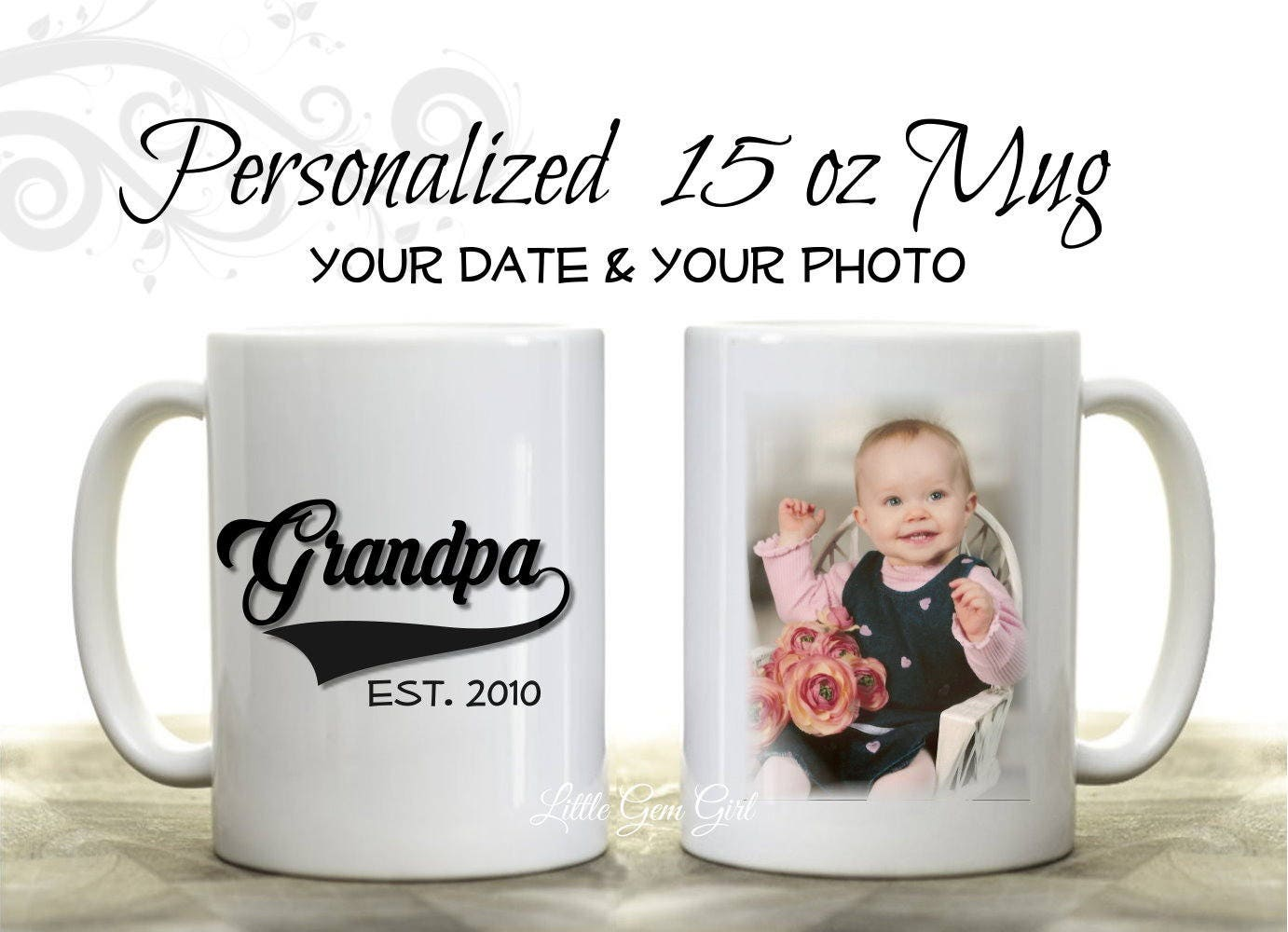 Custom Photo Grandpa Established Coffee Mug Personalized | Etsy