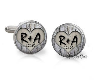 Woodland Wedding Custom Cuff Links - Bride and Groom Initials and Date Carved in Tree Cufflinks Groom Keepsake - Stainless and Sterling