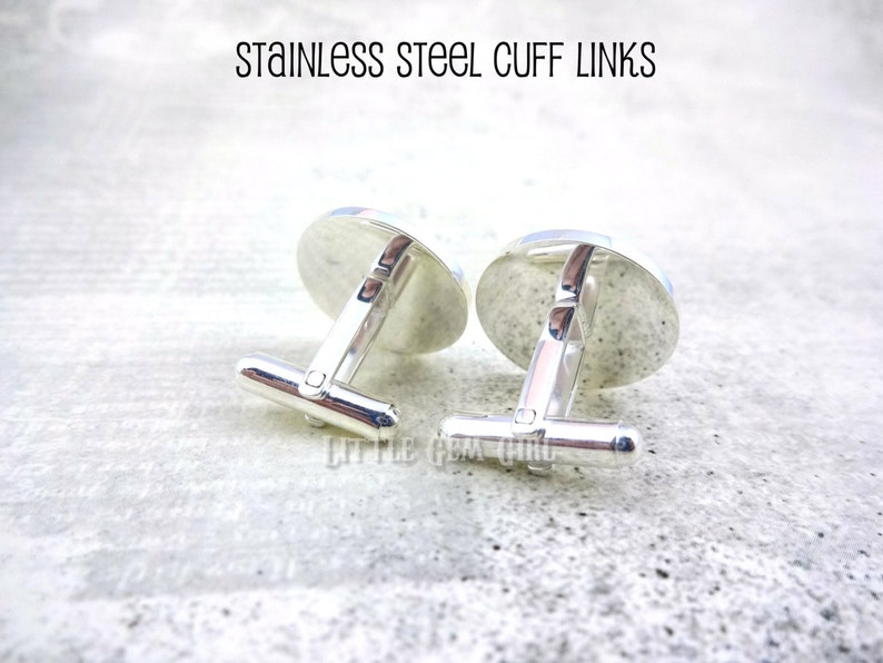 Gift for New Dad Fathers Day Keepsake Sterling Silver or Stainless Child Name and Birth Date Cufflinks Baby Foot Print Cuff Links