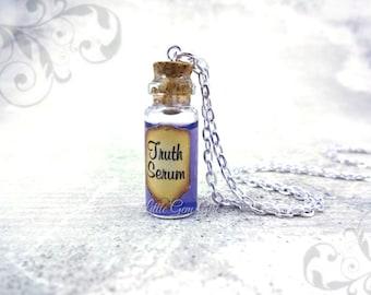 Truth Serum Magic Potion Bottle Necklace - Mini Vial Charm - Purple Shimmer Liquid Magic Spells - Fairy Tale Fantasy Jewelry