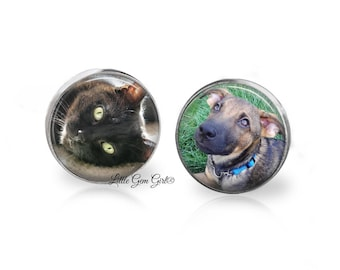Pet Photo Cuff Links - Wedding Groom Cuff Links - Pet Picture Gift for Groom - Pet Memorial Cuff Links - Sterling Silver or Stainless Option
