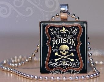 Vintage Poison Bottle Necklace - Skull and Crossbones Poison Scrabble Tile Charm - Halloween Gothic Skeleton Jewelry