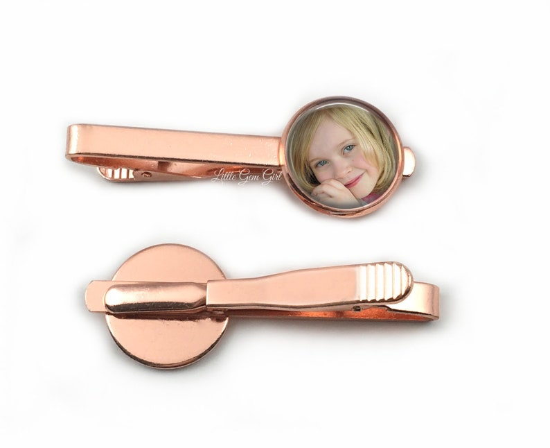 Groom Memorial Tie Clip Fathers Day Gift for Dad Kids Photo Personalized Tie Bar Rose Gold Custom Photo Tie Clip Picture Tie Tac