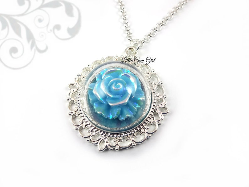 Enchanted Blue Rose Necklace Beauty and the Beast Rose Jewelry Silver Victorian Once Upon a Time Fairy Tale Wedding Bridal Necklace