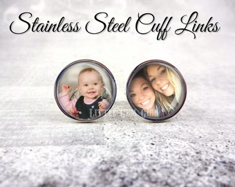 Stainless Steel Silver Photo Cuff Links - Personalized Cufflink with Custom Picture or Text - 18mm Non-Tarnish