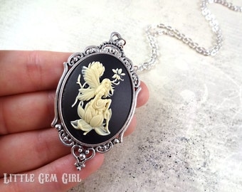 Floral Fairy Cameo Necklace - Large 30x40mm Woodland Flower Fairy Cameo Victorian Faerie Faery Pendant Necklace - Fairy Tale Fantasy Jewelry