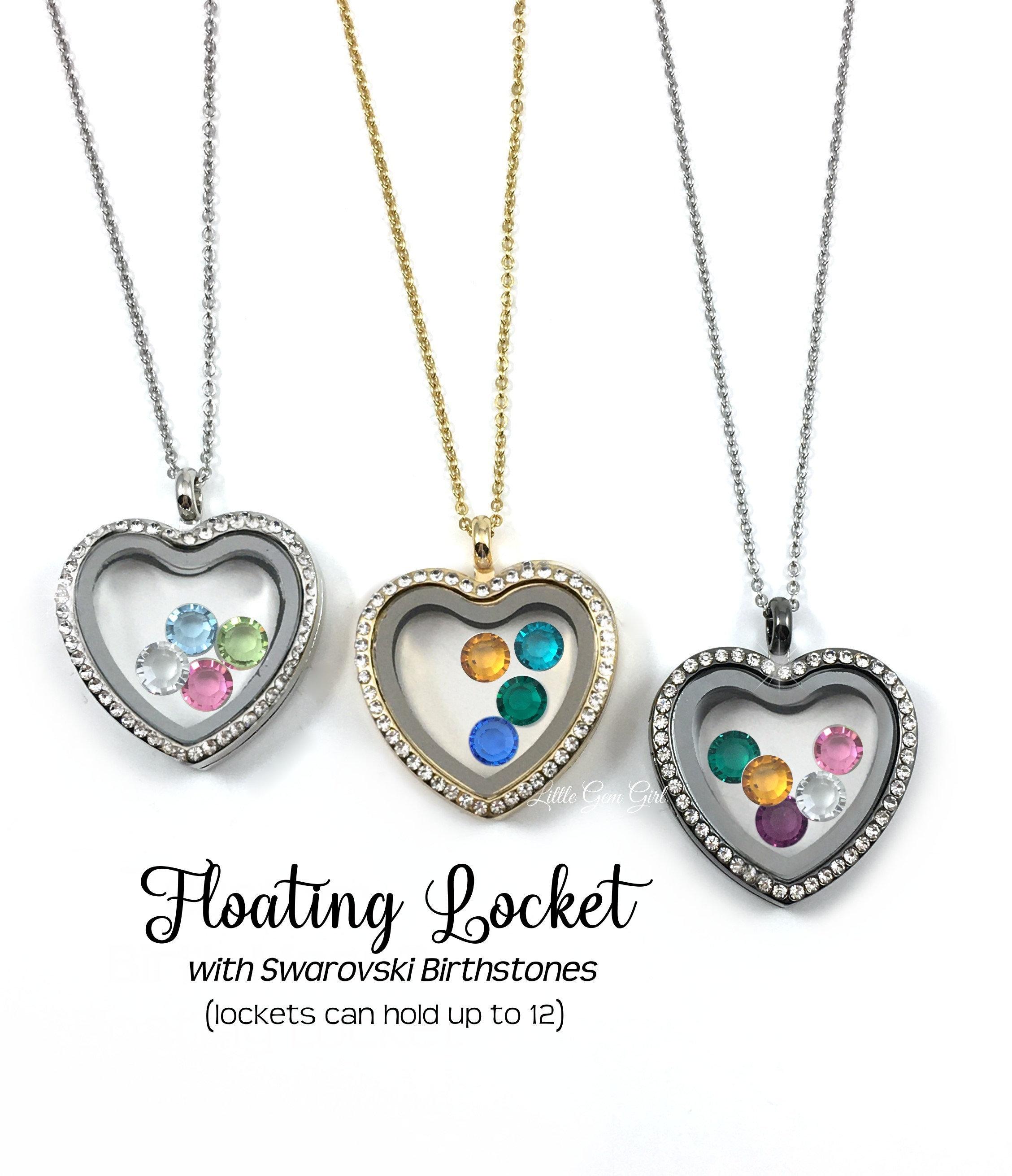 Floating Locket Charm and Birthstone Custom Name Floating Locket with Hearts