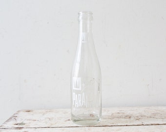 Vintage Mountain Paramount Beverages Bottle Soda Pop Clear Glass White Label Kenosha Wisconsin