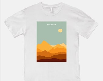 Boho Paradise Sunset Tee Shirt - American Apparel Unisex blue ridge sun sky mountains nc