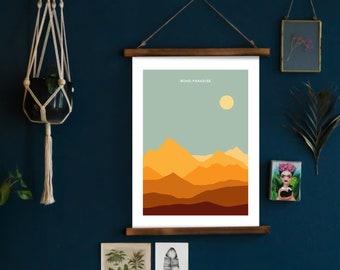 "Boho Paradise Poster - 18"" x 24"" Blue Ridge Mountains Landscape Sunset NC"