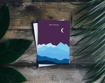 Boho Paradise Print 5x7 Blue Ridge Mountains card night mountain moon landscape nc