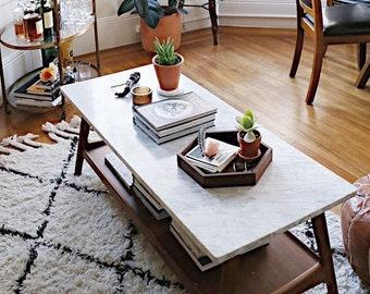 Modern Hexagon Tray - Walnut Wood Rustic Centerpiece Tray Decor Geometric Tray Handmade