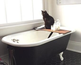 Bath Tray Wood - Custom Rustic Wooden Bathtub Caddy Walnut Farmhouse Bath Tub Tray Handmade