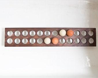 Downton Abbey Egg Holder Table - Wooden Egg Caddy Walnut Handmade - Holds 2 dozen 24 eggs