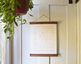 Walnut Poster Hangers - Magnetic Wooden Hanger Frames Wall Hanging Print Photo Fabric Art Handmade